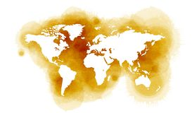 Карта мира в стиле акварели изолированная на белой предпосылке иллюстрация вектора