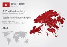 Карта мира Гонконга с текстурой диаманта пиксела Стоковое Изображение