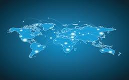 Карта мира - глобальное соединение Стоковые Изображения RF