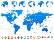 Карта мира, глобусы, континенты, значки навигации - иллюстрация Стоковое Изображение RF
