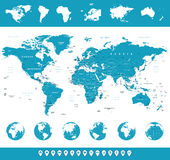 Карта мира, глобусы, континенты, значки навигации - иллюстрация Стоковые Изображения