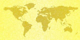 Карта мира, желтая абстрактная предпосылка перемещения Стоковые Изображения RF