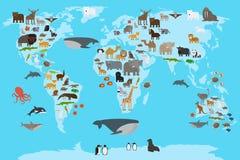 Карта мира животных Стоковое Изображение