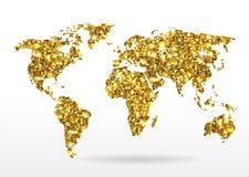 Карта мира звезд золота блестящих иллюстрация штока