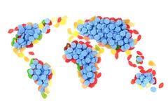 карта мира конфеты Стоковые Изображения RF