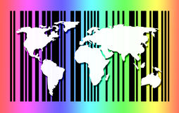 Карта мира на предпосылке штрихкода Стоковые Фото