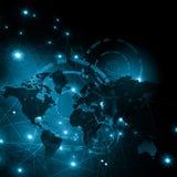 Карта мира на технологической предпосылке, накаляя выравнивает символы интернета, радио, телевидения, черни и спутника Стоковые Фото