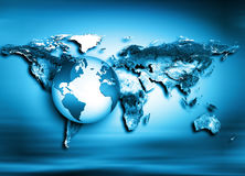 Карта мира на технологической предпосылке интернет самой лучшей принципиальной схемы дела гловальный Элементы этого изображения п Стоковое фото RF