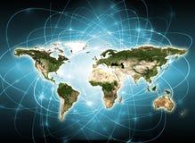 Карта мира на технологической предпосылке интернет самой лучшей принципиальной схемы дела гловальный Элементы этого изображения п Стоковые Изображения RF