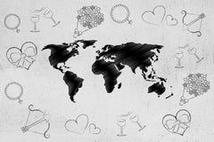 Карта мира окруженная влюбленност-тематическими значками Стоковое Изображение RF