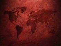 Карта мира показанная на рифлёной старой бумаге Стоковое Изображение