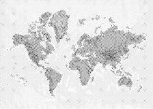 Карта мира полутонового изображения Стоковые Фотографии RF