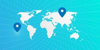 Карта мира положения голубая Стоковое фото RF
