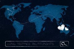 Карта мира при lovehearts соединенные к смычку ` s купидона брошенным lin Стоковое Фото
