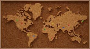 Карта мира пробковой доски Стоковое Фото