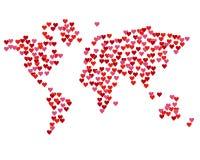 Карта мира созданного от красных сердец Стоковые Изображения