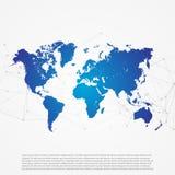 Карта мира с абстрактной сеткой сети - вещами o интернета цифров Стоковое Изображение