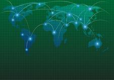 Карта мира с глобальной вычислительной сетью стоковое фото rf