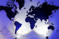 Карта мира с изображением стран и континентов на стене со светом стоковая фотография rf
