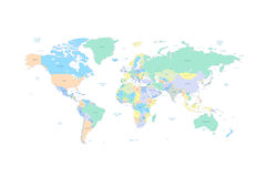 Карта мира с странами и городами перечислила внутри Стоковые Фотографии RF