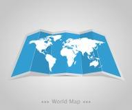 Карта мира с тенью на серой предпосылке Стоковое Фото
