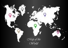 Карта мира с указателями на черной предпосылке бесплатная иллюстрация