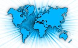 Карта мира с starburst на предпосылке бесплатная иллюстрация