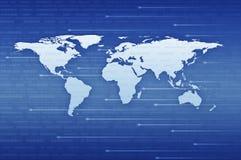 Карта мира цифров с светом пятна над backgrou сини бинарного кода иллюстрация штока