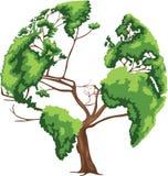 Карта мира дерева форменная Стоковая Фотография