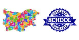 Карта мозаики Болгарии и огорчить коллаж печати школы иллюстрация штока