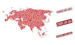 Карта мозаики Европы и Азии и поцарапанного коллажа уплотнения школы иллюстрация вектора