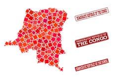 Карта мозаики коллажа печати Демократической Республики Конго и школ иллюстрация штока