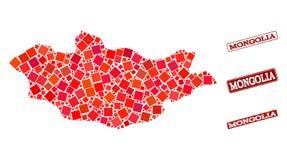 Карта мозаики Монголии и текстурированного коллажа уплотнения школы иллюстрация штока