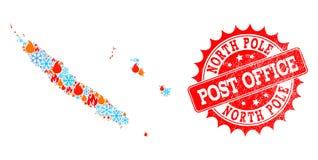 Карта мозаики Новой Каледонии огня и снежинок и печати северного полюса текстурированной почтовым отделением иллюстрация вектора