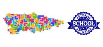 Карта мозаики провинции Астурии и поцарапанного коллажа печати школы иллюстрация штока