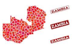 Карта мозаики состава печати Замбии и школы Grunge бесплатная иллюстрация