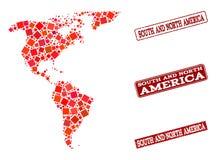 Карта мозаики юга и Северной Америки и поцарапанного коллажа печати ш бесплатная иллюстрация