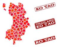 Карта мозаики Ko Дао и текстурированного состава печати школы иллюстрация вектора