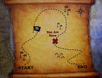 Карта направления сокровища приключения пирата Стоковое Фото