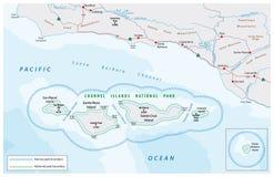 Карта национального парка островов канала Стоковое Изображение