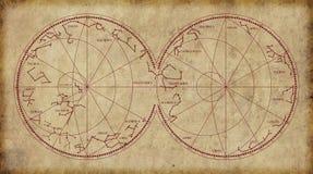 Карта неба показывая созвездия и знаки зодиака стоковое фото
