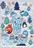 Карта Нового Года с декоративными животными, каллиграфией и элементами леса также вектор иллюстрации притяжки corel иллюстрация штока