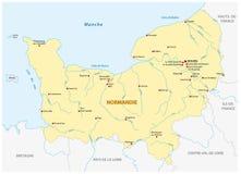 Карта нового французского региона Нормандии в французском языке иллюстрация штока