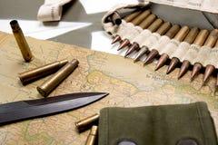 Карта Нормандии установила на клобуке военного транспортного средства Стоковое Изображение RF