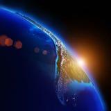 Карта ночи планеты Стоковое Изображение