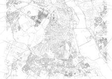 Карта Нью-Дели, спутникового взгляда, улиц города, Индии иллюстрация вектора