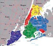 Карта Нью-Йорка Стоковые Изображения