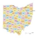 карта Огайо графств Стоковое Изображение RF