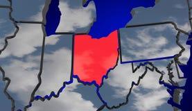 Карта Огайо заволакивает климат Ch окружающей среды США Соединенных Штатов Америки Стоковое Изображение RF