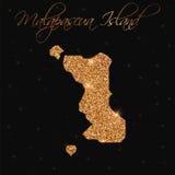 Карта острова Malapascua заполненная с золотым ярким блеском бесплатная иллюстрация